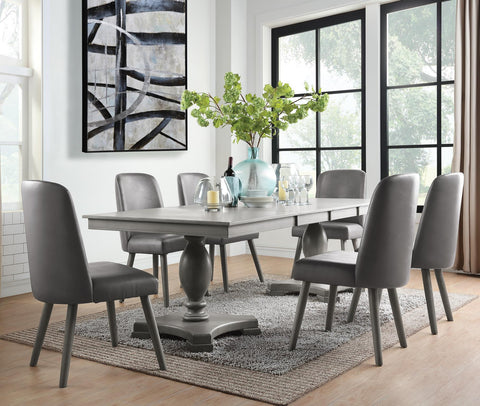 Waylon Double Pedestal Dining table Set - Gray Oak Finish