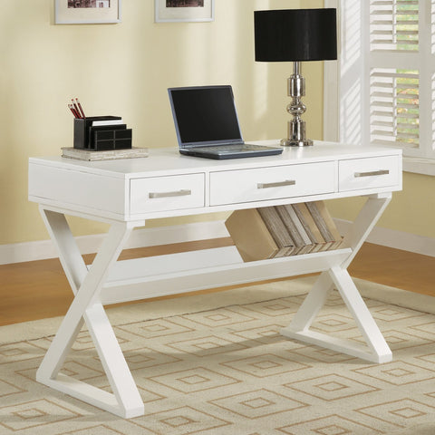 Contemporary 3 Drawer Desk with Criss Cross Legs