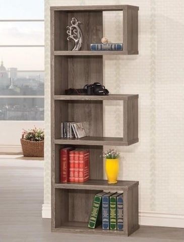 Semi Backless Bookshelf, in Weathered Grey Finish