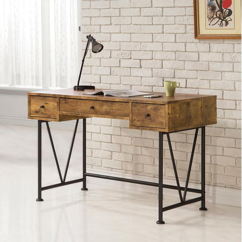 Industrial Style Wood Writing Desk With Metal Legs