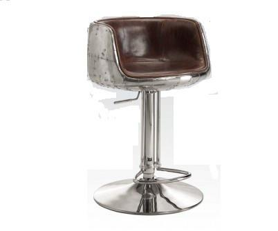 Brancaster Adjustable Stool w/ Swivel in Vintage Brown Top Grain Leather & Aluminum