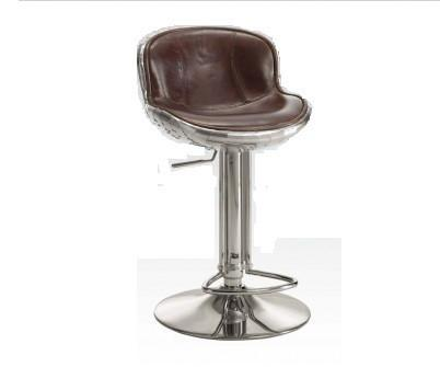 Brancaster Vintage Brown Leather Swivel Armless Adjustable Stool