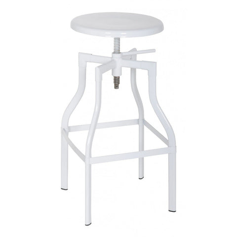 Swivel Round White Adjustable Stool