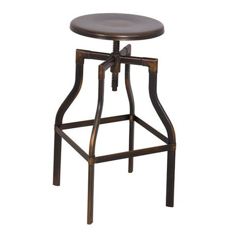 Swivel Round Antique Copper Adjustable Stool