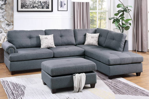 Blue Grey Sectional Sofa with Storage Ottoman