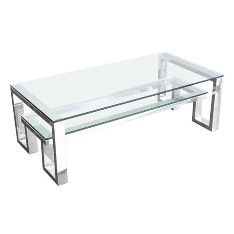 Carlsbad Cocktail Table with Clear Glass Top with Shelf