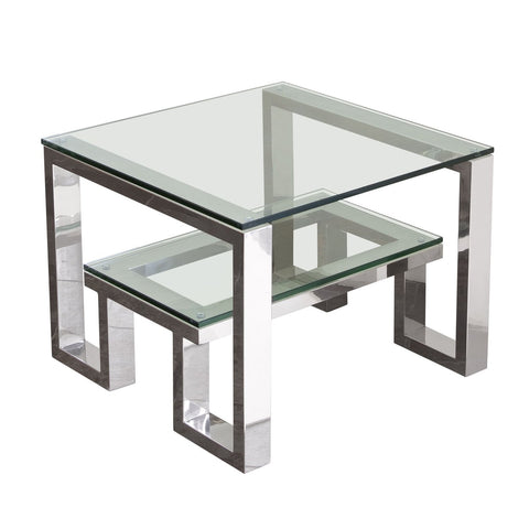 Carlsbad End Table with Clear Glass Top with Shelf