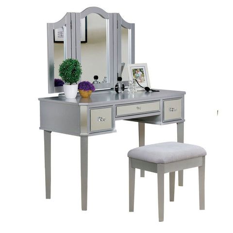 Clarisse Vanity Table with Bench Set, Silver