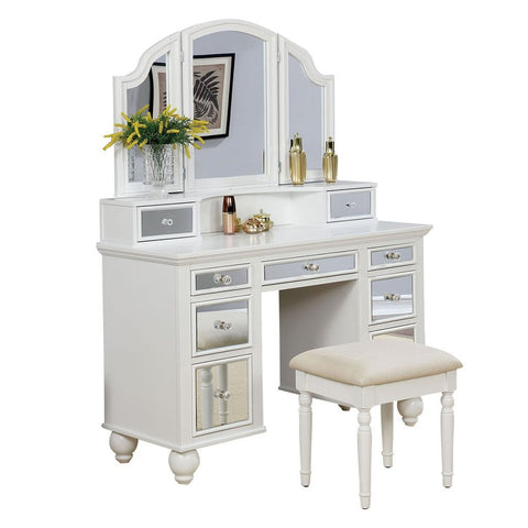 Tracy Vanity Table with Bench Set, White