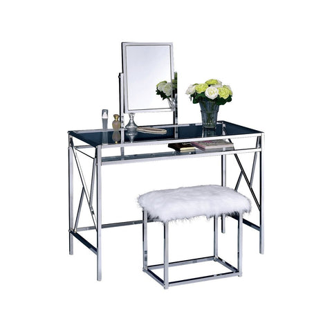 Lismore Vanity Table with Bench Set, Chrome