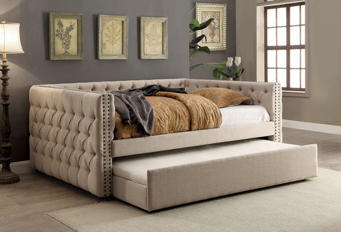 Comtemporary Tufted Twin/Twin Daybed With Trundle, Ivory
