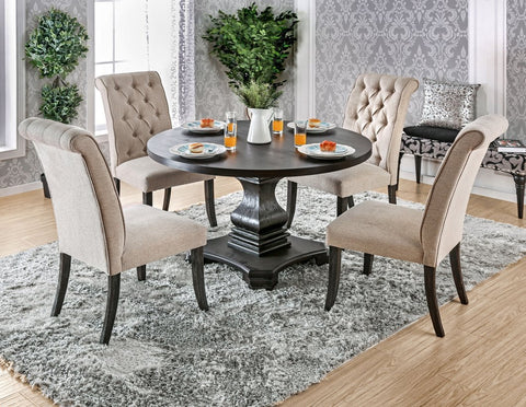 Nerissa Round Dining Set, Antique Black