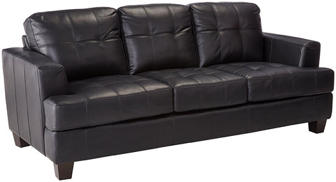 Samuel Contemporary Leather Sofa - Black