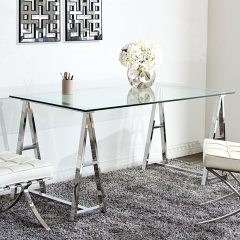 Desk With Clear, Tempered Glass Top, Stainless Steel