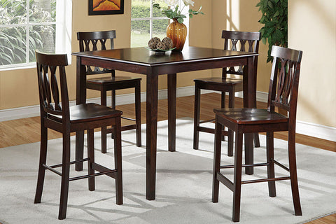 Dark Wood Counter Height Dining Table Set