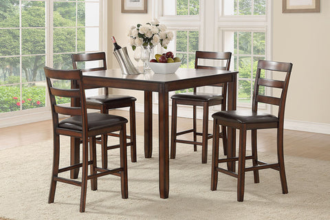 Simple Mahogany Counter Height Dining Table Set