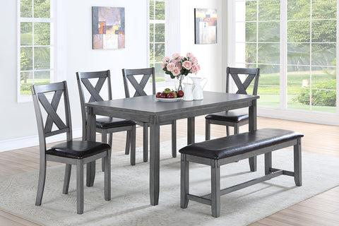 Casual Grey Dining Table Set - 6 pieces