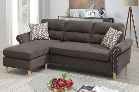 Tan 2 Piece Sectional with Nailhead Accents