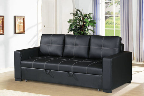 Black Faux Leather Sofa Bed with Square Shaped Stitching