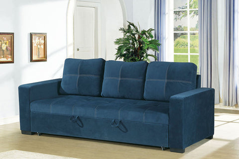 Blue Sofa Bed with Square Shaped Stitching