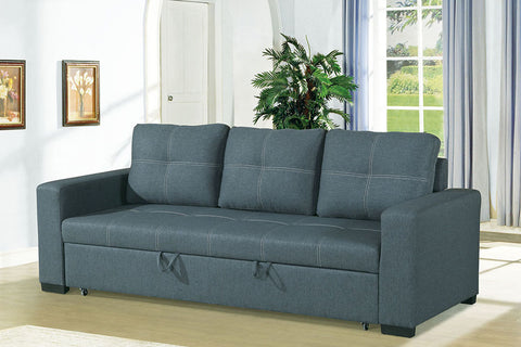 Blue-Grey Sofa Bed with Square Shaped Stitching