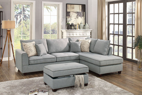 Light Grey Sectional with Storage Ottoman