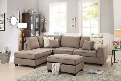 Mocha Sectional with Storage Ottoman