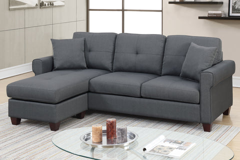 Classic 2 Piece Reversible Sectional Sofa in Charcoal
