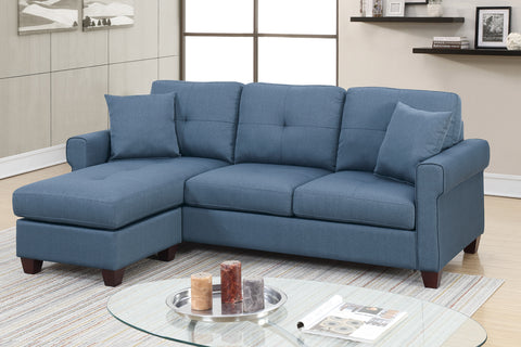 Classic 2 Piece Reversible Sectional Sofa in Blue