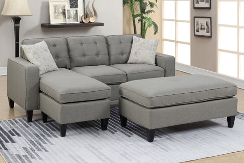 Light Grey Reversible 3-Piece Sectional Sofa with Ottoman