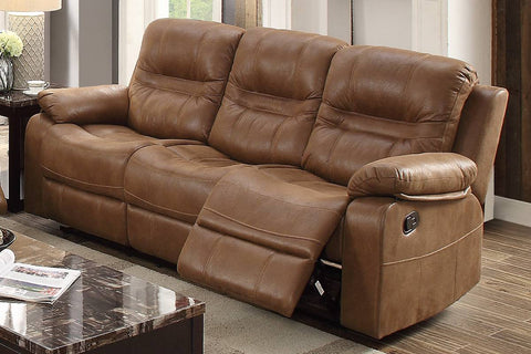 Tristan Brown Leatherette Manual Recliner Sofa