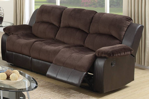 Two Tone Chocolate Suede Faux Leather Motion Sofa
