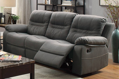 Slate Blue Breathable Leatherette Manual Reclining Sofa