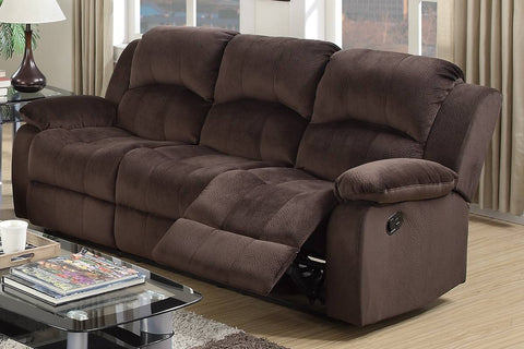 Chocolate Padded Suede Manual Reclining Sofa