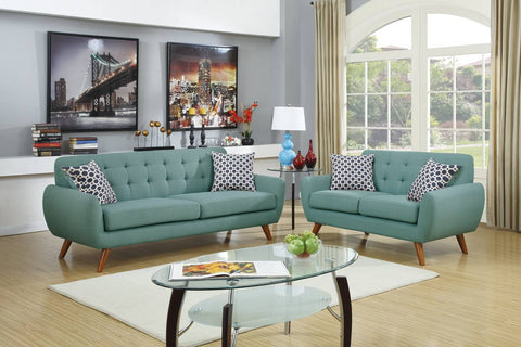 Retro Style 2 Piece Sofa Set - Laguna Blue