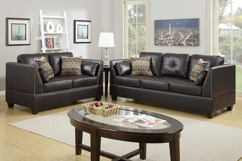 2 Piece Bonded Leather Sofa Set in Espresso with Triangular Arms