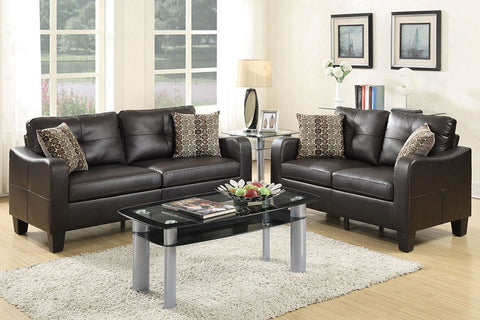2 Piece 2-Seater Sofa Set in Espresso Bonded Leather