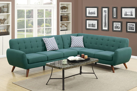 Tufted Laguna Blue Sectional Sofa