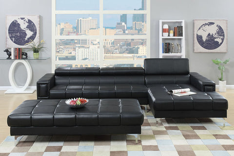 Cube Tufted Sectional - Black