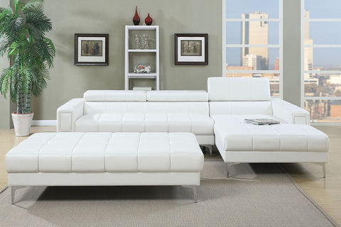 Cube Tufted Sectional - White