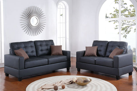 2 Piece Faux Leather Sofa Set in Black with Accent Tufting