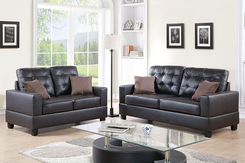 2 Piece Faux Leather Sofa Set in Espresso with Accent Tufting