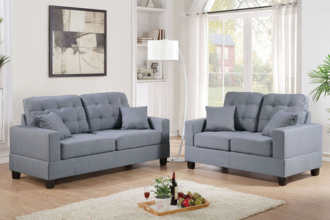 2 Piece Sofa Set in Grey with Accent Tufting