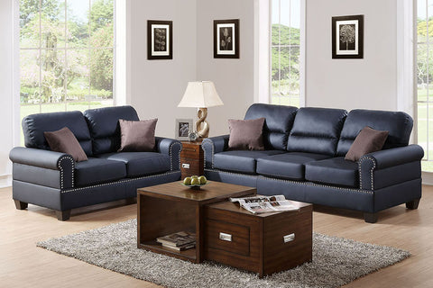 2 Piece Black Bonded Leather Sofa Set with Nailhead Trim