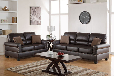 2 Piece Espresso Bonded Leather Sofa Set with Nailhead Trim