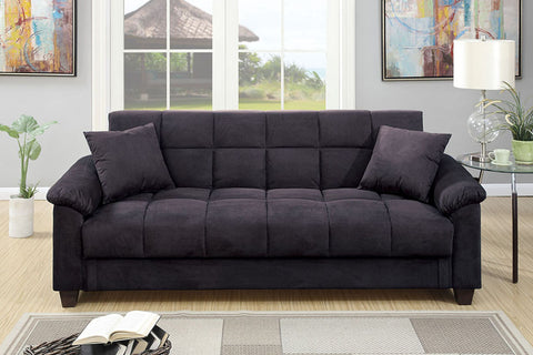 Cube Patterned Futon in Ebony Microfiber