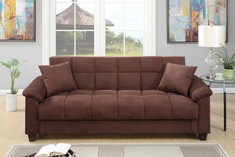 Cube Patterned Futon in Chocolate Microfiber