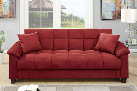 Cube Patterned Futon in Red Microfiber