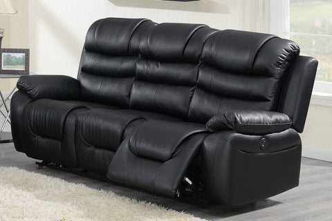 Black Breathable leather  Power Reclining Sofa