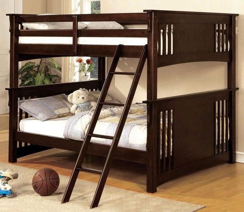 Dark walnut Finish full/full Bunk Bed